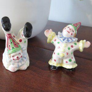 Clown Salt and Pepper Shakers, Dancing and Tumbling, Circus, Vintage